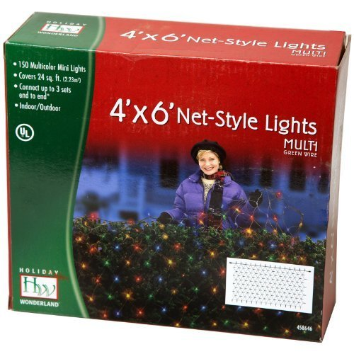 Noma/Inliten Holiday Wonderland 48951-88 150-Count Multi Color Christmas Lights Net Mesh Light Set/Tree Wrap 4 x 6 Feet (2 Pack)