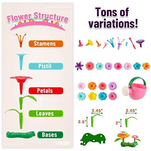 FUNZBO Flower Garden Building STEM Toys – Gardening Pretend Gift for Girls Kids Toy – Educational Activity for Preschool…