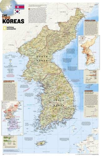 North Korea, South Korea, The Forgotten War: 2 sided [Tubed] (National Geographic Reference Map)