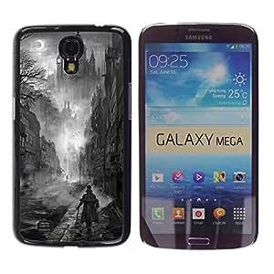 iKiki Tech / Estuche rígido - Black White Painting Castle Vampire - Samsung Galaxy Mega 6.3 I9200 SGH-i527