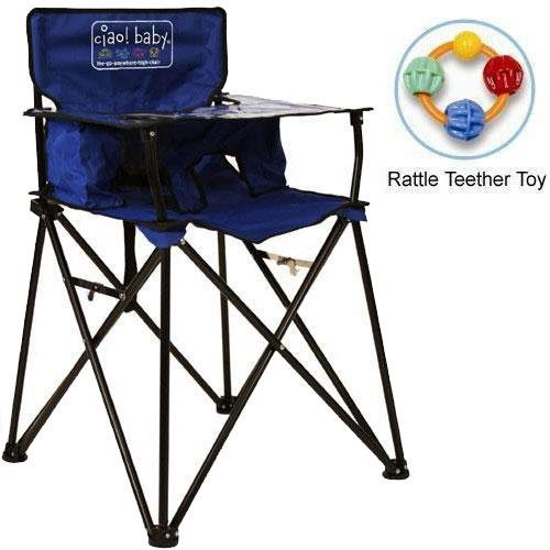 ciao baby - Portable High Chair with Rattle Teether Toy - Blue by ciao! baby