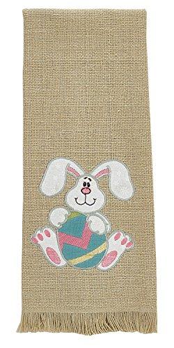 Floppy Ear Bunny Holding Easter Egg Appliqued Cotton Burlap Look Kitchen Towel (Appliqued Bunny)