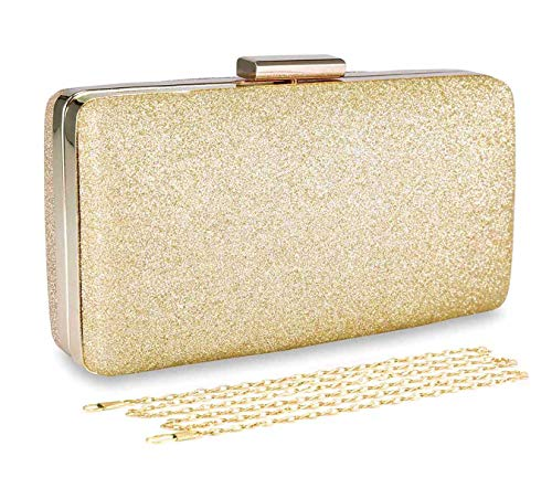 - Selighting Women's Glitter Evening Bags Clutches Formal Wedding Clutch Purse Prom Cocktail Party Handbags with Chain Strap (One Size, Gold)