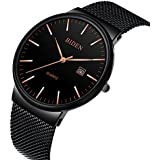 Mens Watches Black Stainless Steel Wrist Watch Analog Quartz Business Watches Waterproof with Mesh Band
