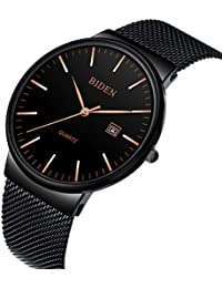 Mens Watches Black Stainless Steel Wrist Watch Analog...