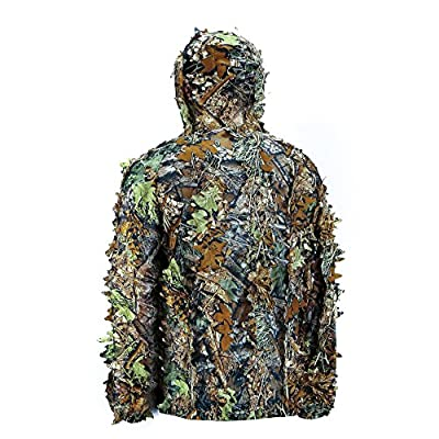 Mens High Quality Natural Hooded Camouflage Leafy Hunting Suit