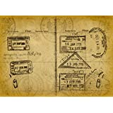 """Wallmonkeys Wall Decals Grunge Passport Stamps Peel and Stick Wall Decal, 18 x 13"""""""