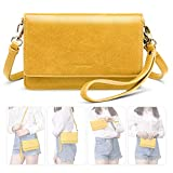 nuoku Women Small Crossbody Bag Cellphone Purse Wallet with RFID Card Slots 2 Strap Wristlet(Max 6.5'') … (Yellow)