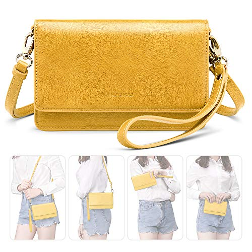 nuoku Women Small Crossbody Bag Cellphone Purse Wallet with RFID Card Slots 2 Strap Wristlet(Max 6.5'') … (Yellow) by nuoku (Image #1)