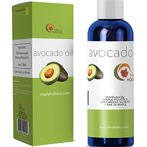 100% Pure Avocado Oil - Deep Tissue Moisturizer for Hair, Face & Skin - Rich in Retinol & Vitamin E to Reduce Wrinkles - Supports Skin Rejuvenation & Hair Growth - 4 Oz - USA Made By Maple Holistics