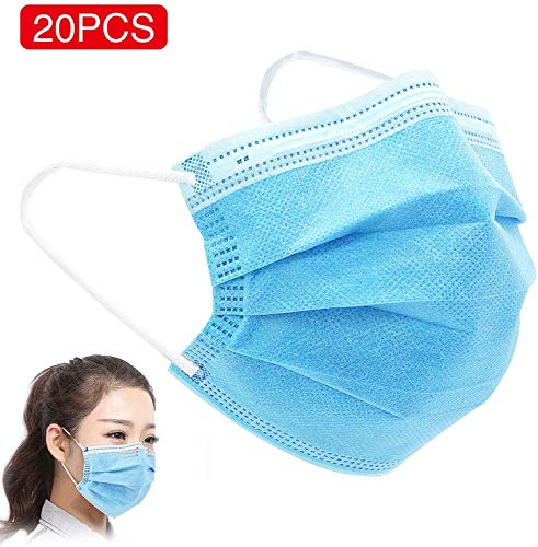 DTBG Covers 20 Pcs 3 Layer Wearing Facial Cover, Blue