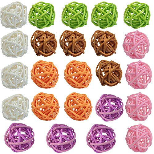 Y-luck Wicker Rattan Balls,Decorative Orbs Natural Rattan Balls Vase Fillers for Craft Project, Wedding Table Decoration, Themed Party,Aromatherapy Accessories,Christmas Tree Decoration (3cm 24pcs) (Craft Balls Rattan)