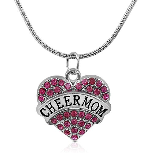 Cheer Mom Necklace (Silver Tone and Fuchsia/Pink Crystal Heart Shaped