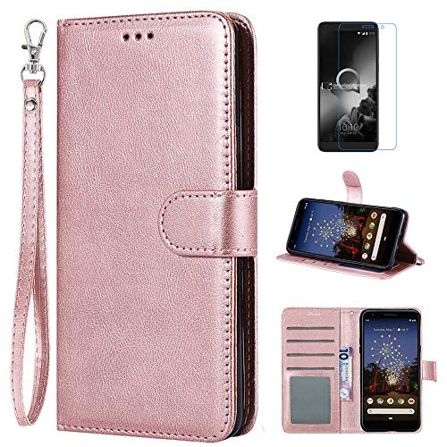 Alcatel 1X 2019 Case, Alcatel Onyx Case, mellonlu Luxury PU Leather Flip Folio Wallet Card Slots Case Stand Feature & Magnetic Closure Protective Cover for Alcatel 1X 2019/ Alcatel Onyx 5008R