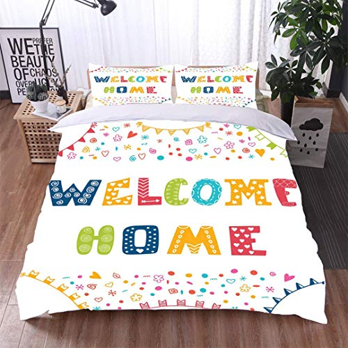 3 Piece Quilt Coverlet Bedspread,Welcome Home Text with Colorful Design Elements,Soft,Breathable,Hypoallergenic,All Season Lightweight Colorblock Kids Bedding Set