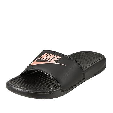 41f6faefc Nike Women's Benassi Just Do It Slide Sandal, Black/Rose Gold, 9 Regular
