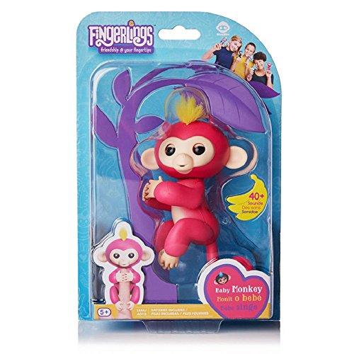 WowWee Fingerlings Bella Pink Baby Monkeywith Bonus Stand
