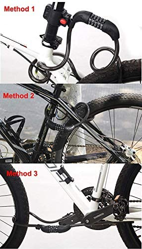 GLE2016 自転車ロック 自転車チェーンロック 5桁のリセット可能な番号と取り付けブラケット付き コンビネーションコイルケーブルロック 自転車 マウンテンバイク スクーターアウトドア (4フィート x 1/2インチ)
