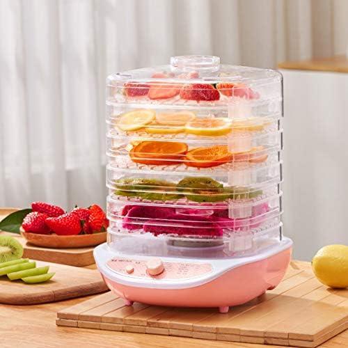 002-fr3 Essiccatore per Alimenti Frutta Verdura Erba Essiccatore Carne Snack per Animali Domestici Essiccatore per Alimenti con 5 teglie 220V Rosa Bianco (95pink Bianco)