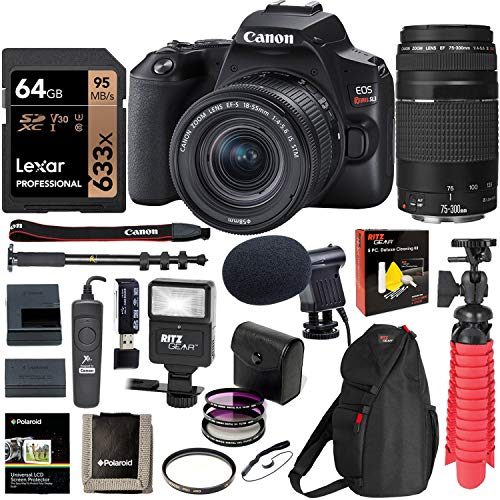 (Canon SL3 DSLR Camera with 18-55mm is STM & 75-300mm Lens, U3 64GB Memory, Bag, Flash, Monopod, and Cleaning Kit Bundle)