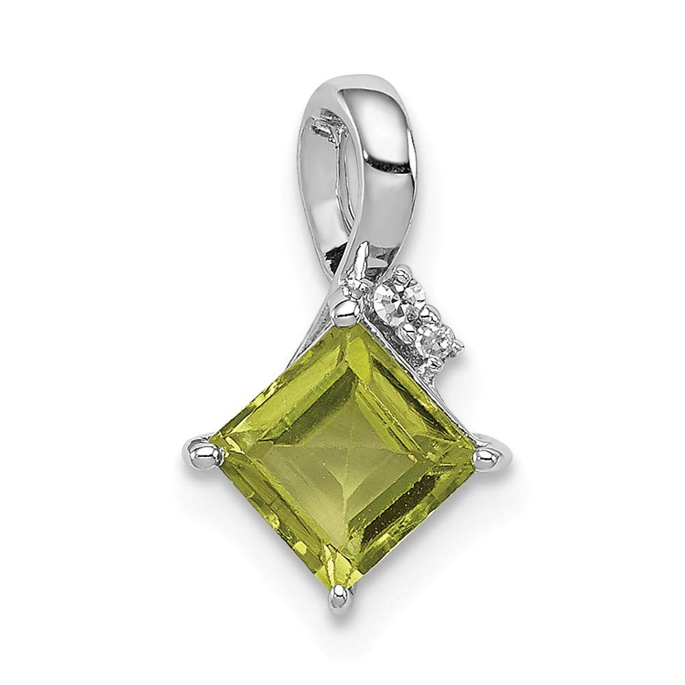 .01 cttw. 13mm x 12mm Sonia Jewels 925 Sterling Silver Diamond /& August Simulated Birthstone Green Simulated Peridot Square Pendant