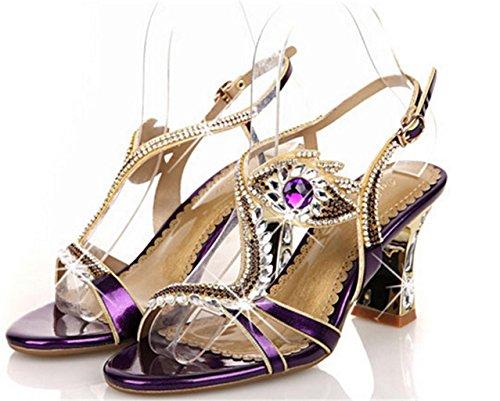 MNII Damen-Frauen-Abend-Art- Und Weiserhinestones-Hohe AbsäTze Beschuht Sandelholze GrößE Purple