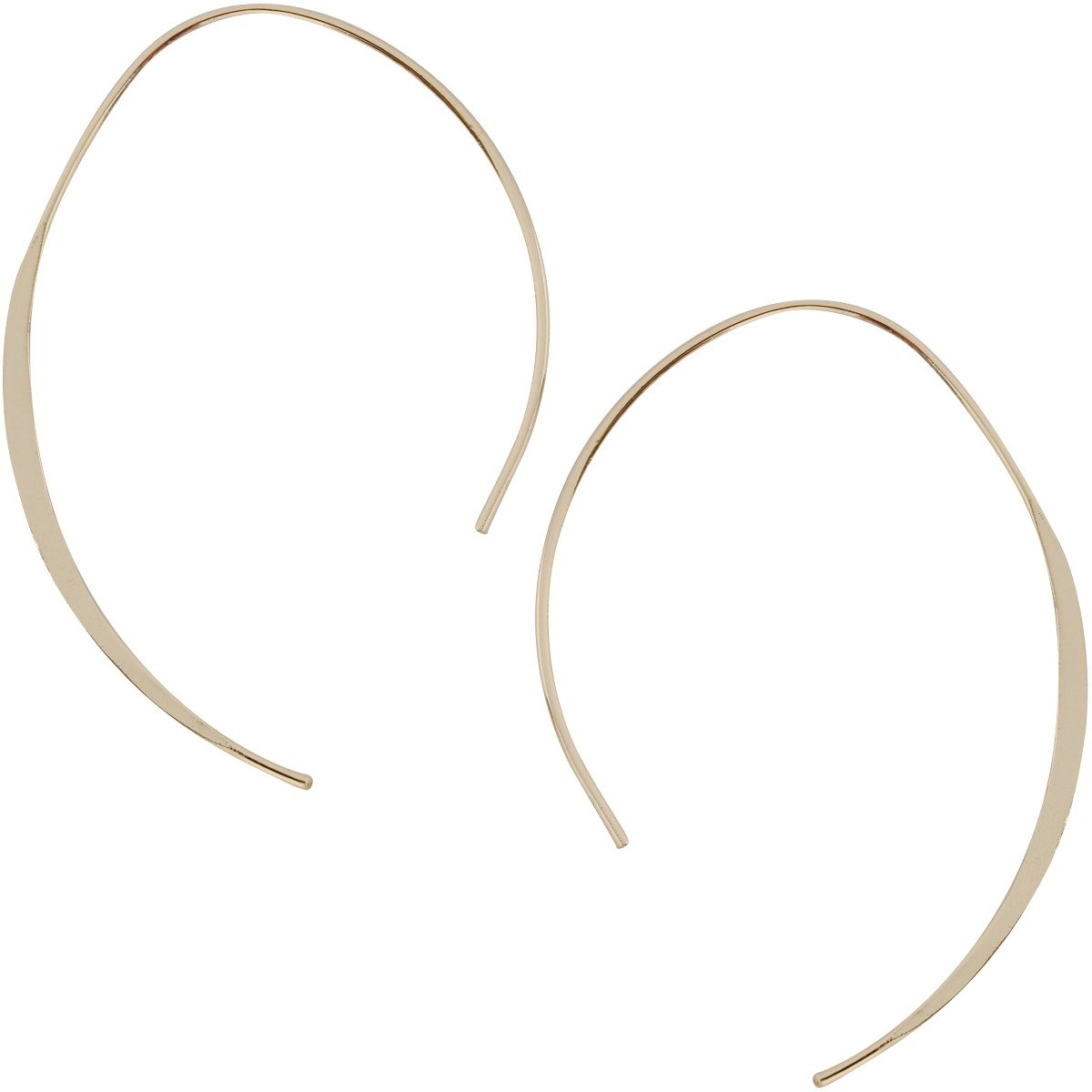 Humble Chic Upside Down Hoops - Hypoallergenic Lightweight Open Wire Needle Drop Dangle Threader Earrings, 24K Yellow, Gold-Electroplated