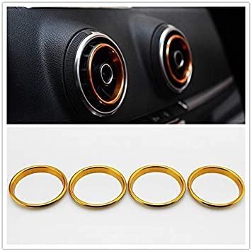 Blue Aluminum Alloy Air Condition Air Vent Outlet Ring Cover Trim Decoration Sticker For AUDI A3 S3 2013-2016//Q2 2017 Accessories,car-styling 4pcs