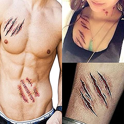Ayutthaya shop Halloween 3D Removable Scary Zombie Tattoo Costume MakeUp Blood Injury Wound 2x (Supernatural Battery)