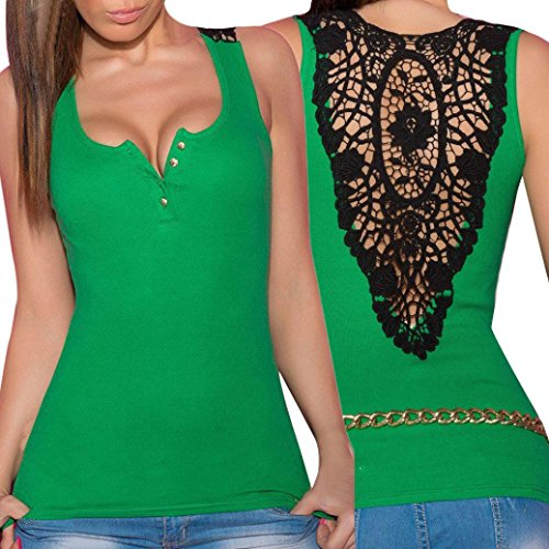 Hot Sale! Sexy Lace Vest ,Beautyvan 2017 NEW Comfortable Design Women Bandage Tank Top Summer Sexy Lace Halter Fashion Sleeveless Camisole (XL, Green)