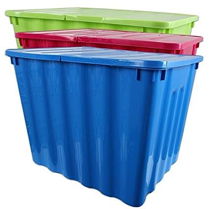 Centi Caja apilable Caja XXL plástico colores surtidos plegable Tapa 110 litros