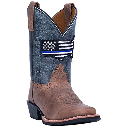 Dan Post Kids Boys Brown/Blue Cowboy Boots Leather Broad Square Toe 2.5 D
