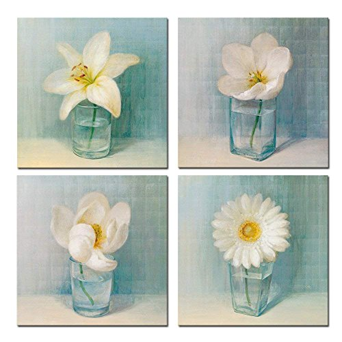 Sea Charm - 4 Panel Vintage Flower Canvas Wall Art,Home Office Decoration Hanging Art,modern Floral Canvas Artwork,White Lily Daisy Flower Vase Picture Giclee Print on Canvas Ready to Hang
