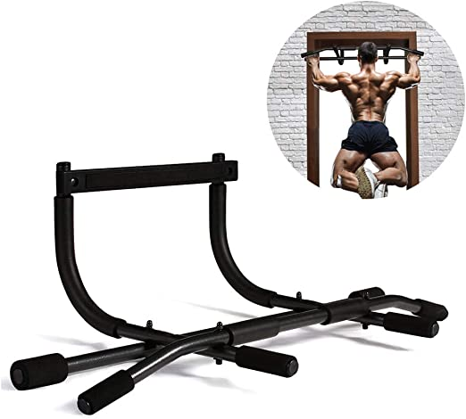 Pull Up Bar Adjustable Door Gym Chin Up with Gloves for Door Frames Strong Secure Durable Doorway Training Extendable Workout Equipment Abs Upper Body Fitness Training Strength Building Upper Arms
