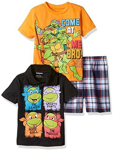 Nickelodeon Boys Big Teenage Mutant Ninja Turtle 3 Piece Tee and Plaid Short Set