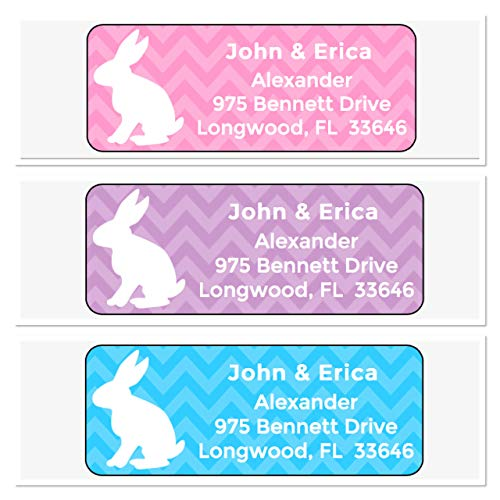 (Personalized Address Labels, Easter Bunny Chevron Set Of 30, Personalized Wedding Address Labels, Engagement Labels, Bridal Labels)