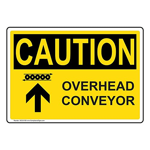 Caution Overhead Conveyor OSHA Safety Label Decal, 5x3.5 in. 4-Pack Vinyl by ComplianceSigns