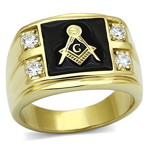 FlameReflection Stainless Steel Gold-Tone Round Shape Cubic Zirconia Freemason Men Ring Size 8-13 SPJ