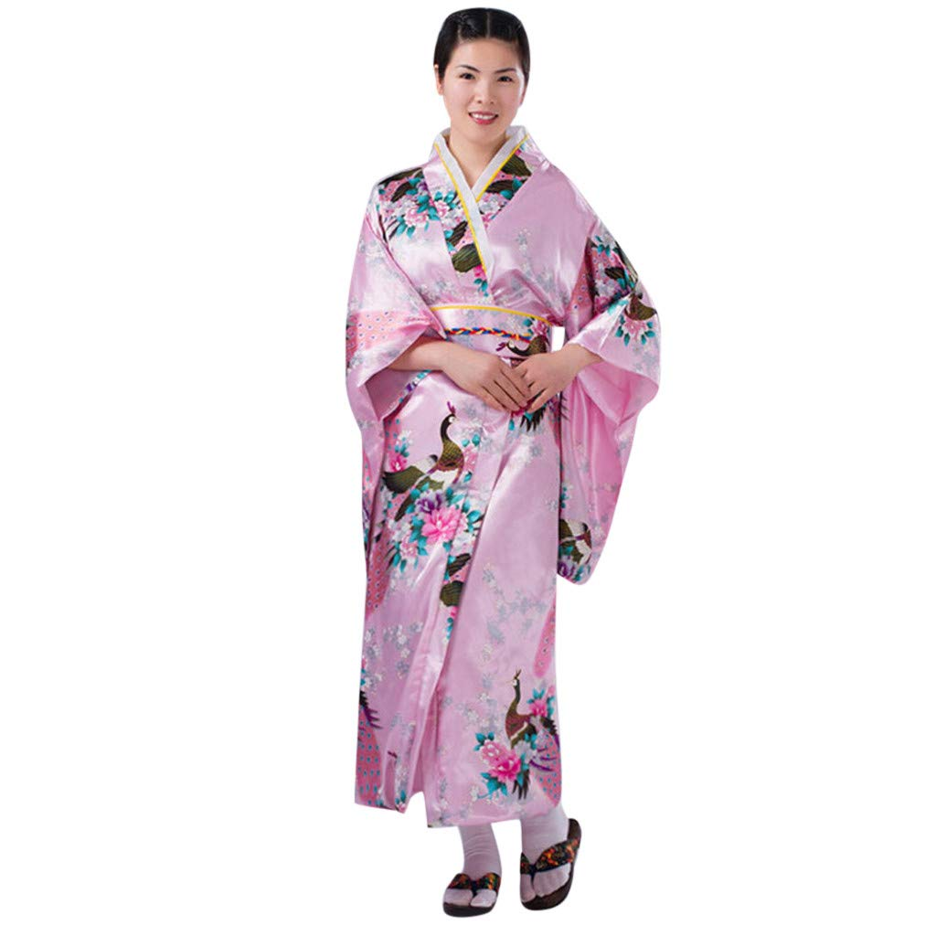 Ultramall Women's Print Kimono Robe Traditional Japanese Dress Photography Cosplay Costume(Pink,One Size)