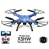 SYMA X5HW WiFi Real Time FPV 2.4G 4CH RC 6 Axis Gyro Altitude Hold Quadcopter Drone HD Camera 360-degree 3D flips function RTF RC Android iOS - Blue