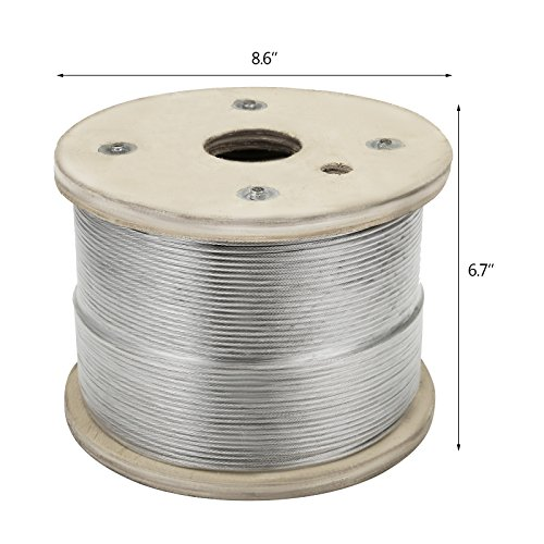"""LOVSHARE 1/8"""" 1000FT Wire Rope T316 Stainless Steel Cable Railing 1x19 Strand Core Cable Reel by LOVSHARE (Image #1)"""