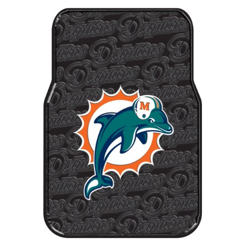 The Northwest Company Officially Licensed NFL Miami Dolphins Two-Pack Front Car Floor Mat (Miami Dolphins Floor Mat)
