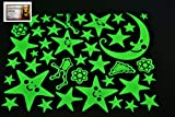 PertidStar Glow In The Dark Stars Wall Stickers Star Moon for Starry Sky, Perfect For Kids Bedding Room or Birthday Gift ,Beautiful Wall Ceiling Decals Perfect For Baby Nursery Bedroom Decor,Set 01