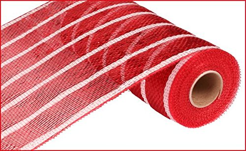 Deco Poly Mesh Wreath - 10 Inch x 30 feet Deco Poly Mesh Ribbon - Metallic Red and White Stripe Foil : RE1333F8