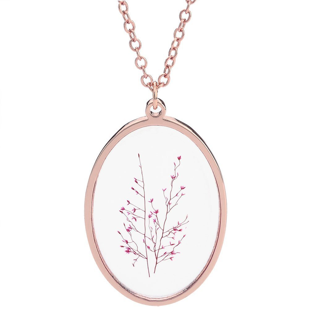 CHUANGYUN Ellipse Vintage Dry Flower Transparent Glass Dried Drop Pendant Necklace Handmade Jewelry