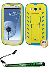FoxyCase(TM) FREE stylus AND SAMSUNG Galaxy S III (i747 L710 T999 i535 R530 i9300) Natural Yellow Tropical Teal TUFF Treadz Hybrid Protector Cover cas couverture