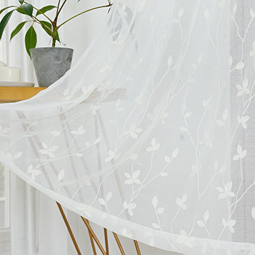 Floral Net Embroidered Lace Curtain - Anjee Semi Embroidered Sheer Curtains, Leaf Pattern Ivory White Voile Drapes with Metal Grommet for Bedroom and Living Room, 54 x 63 Inches, 2 Panels, Off White