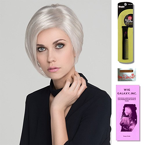 Rich Mono by Ellen Wille Wigs, Wig Cap Liner, Wig Comb and Wig Galaxy Booklet. (4- Item Bundle) (PLATIN BLONDE MIX)