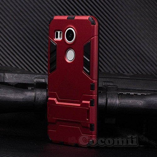 Cocomii Iron Man Armor LG Nexus 5X Case New [Heavy Duty] Premium Tactical Grip Kickstand Shockproof Hard Bumper Shell [Military Defender] Full Body Dual Layer Rugged Cover for LG Nexus 5X (I.Red)