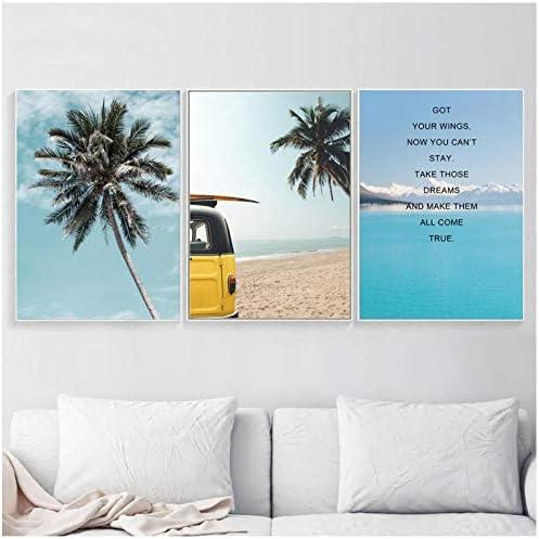 ヤシの木海ビーチ動機引用壁アートキャンバス絵画北欧ポスターとプリント壁写真用リビングルーム-30x40x3Pcscm枠なし